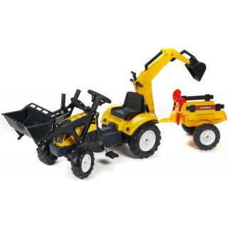 FALK - Šlapací traktor Ranch Trac s nakladačem, vlečkou, rypadlem žlutý