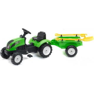 FALK - Šlapací traktor Garden master zelený s vlečkou + lopatka a hrábě