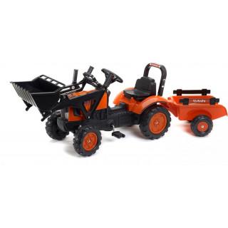 FALK - Šlapací traktor Kubota s nakladačem a vlečkou