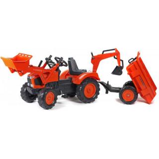 FALK - Šlapací traktor Kubota M135GX s nakladačem, rypadlem a vlečkou