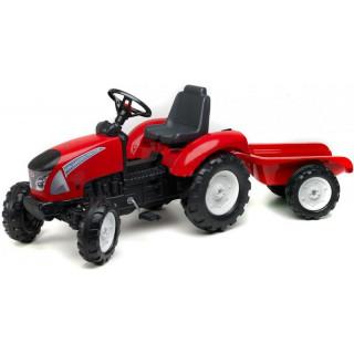 FALK - Šlapací traktor Garden Master s vlečkou červený