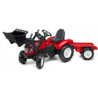 FALK - Šlapací traktor Garden Master s nakladačem a vlečkou červený