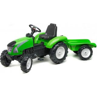 FALK - Šlapací traktor Garden Master s vlečkou zelený