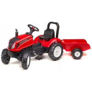 FALK - Šlapací traktor Land Master s vlečkou červený