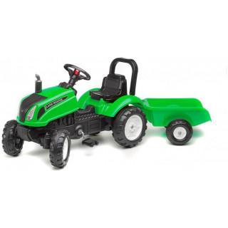 FALK - Šlapací traktor Land Master s vlečkou zelený