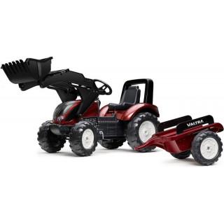 FALK - Šlapací traktor Valtra S4 s nakladačem a vlečkou