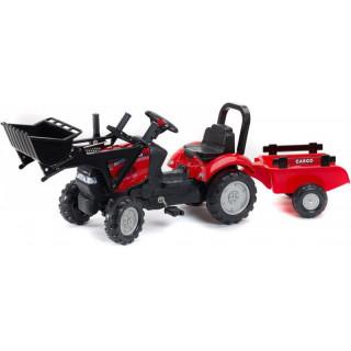 FALK - Šlapací traktor Case iH Maxxum 130 CVX s nakladačem a vlečkou červený