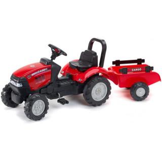 FALK - Šlapací traktor Case iH Maxxum 130 CVX s vlečkou červený