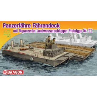 Model Kit military 7509 - PANZERFÄHRE FÄHRENDECK MIT GEP. LANDWASSERSCHLEPPERR PROTOTYPE Nr. II (1:72)