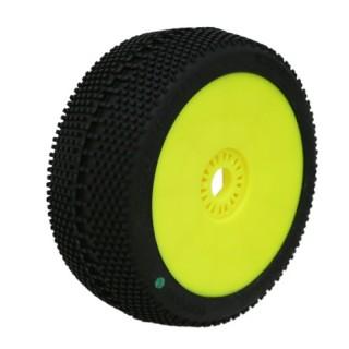 SQUARE IMPACT (soft/zelená směs) Off-Road 1:8 Buggy gumy nalep. na žlutých disk. (2ks.)