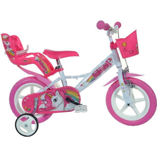 "DINO Bikes - Dětské kolo 12"" Jednorožec se sedačko"