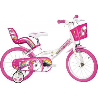 "DINO Bikes - Dětské kolo 14"" Jednorožec se sedačko"