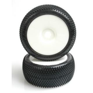 Mini Pin 1/8 gumy, nalepené, žlutá směs, bílé disky (2ks) spec. halová guma