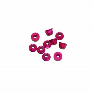 3 mm. alu samojistné matičky s osazením růžové (10 ks.)