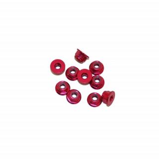4 mm.alu samojistné matičky s osazením červené (10 ks.)