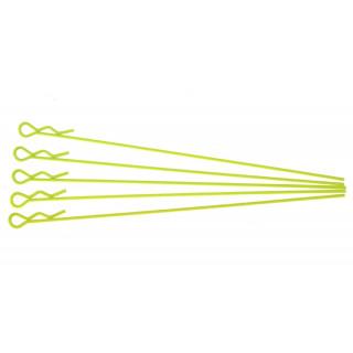 Sponky pro karoserie pro 1/10 - fluorescentní žlutá, extra dlouhé (5ks.)