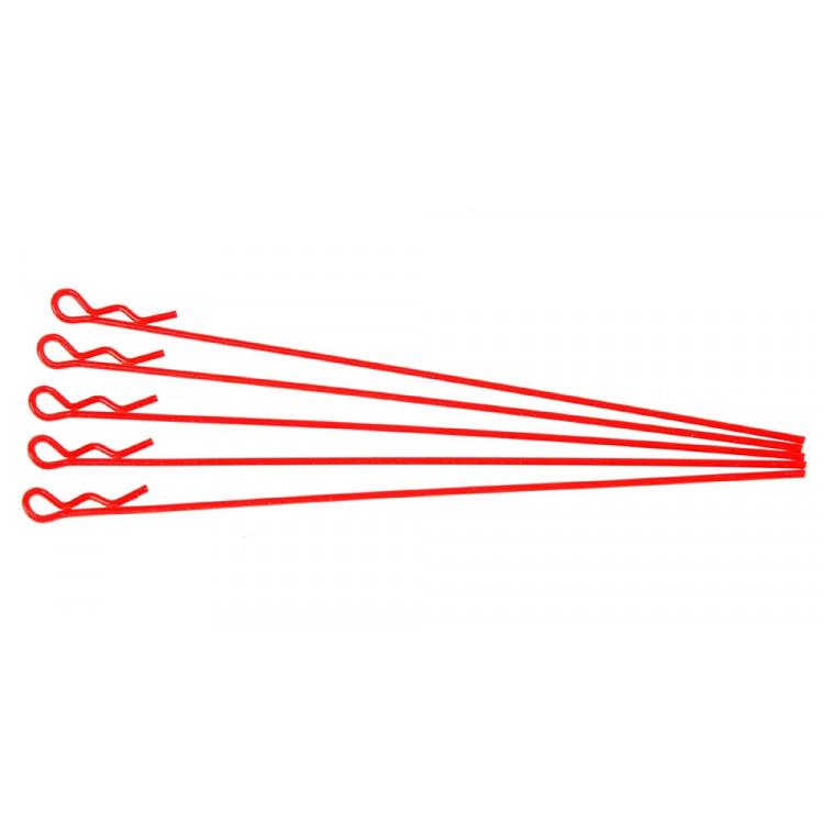 Sponky pro karoserie pro 1/10 - fluorescentní červená, extra dlouhé (5ks.)