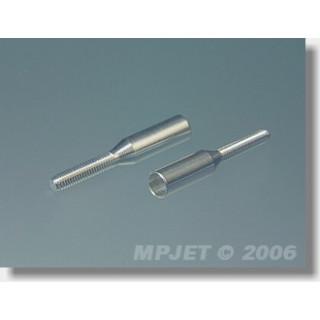 2038 Koncovka táhla Al pro carbon trubku 3mm/M2,5 2 ks