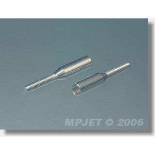 2040 Koncovka táhla Al pro carbon trubku 4mm/M2,5 2 ks