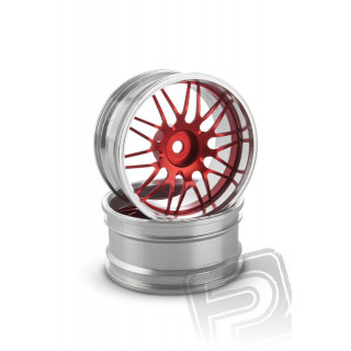 Hliníkový disk 10 paprsků, offset 6 mm - červená barva (2 ks)