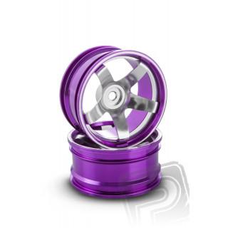 Hliníkový disk 5 paprsků, offset 6 mm - fialová barva (2 ks)