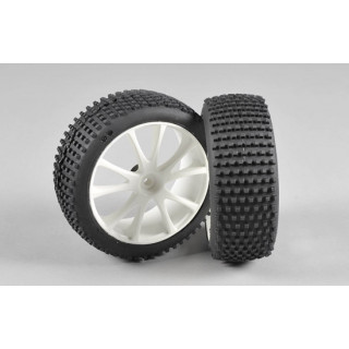 Mini Pin EVO M směs gumy nalepené na bílých diskách, 2ks.