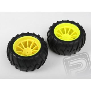 Nalepené gumy - 1/10 Monster, žluté disky (2ks)
