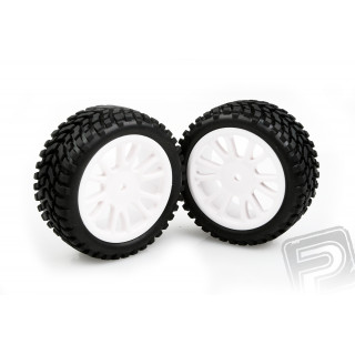 Nalepené gumy na bílých diskách 2ks.