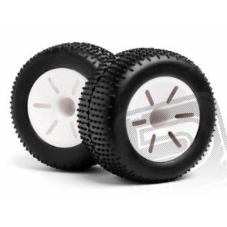 1/10 Truggy bílé disky zadní & nalepené gumy