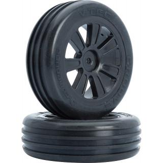 VTEC Groove 2WD přední nalepené gumy na černých diskách - 1/10 Buggy J-směs