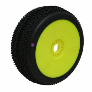 HOT DICES (super soft/fialová směs) Off-Road 1:8 Buggy gumy nalep. na žlutých disk. (2ks.)