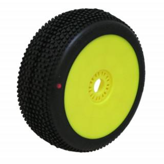 HOT DICES (Xtreme/červená směs) Off-Road 1:8 Buggy gumy nalep. na žlutých disk. (2ks.)