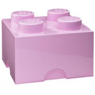 LEGO úložný box 250x250x180mm - světle růžový