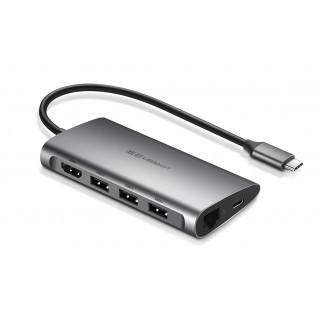 UGREEN USB-C hub s HDMI, RJ-45, SD a MicroSD čtečka, šedý