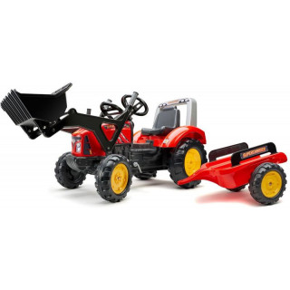 FALK - Šlapací traktor Supercharger s nakladačem a vlečkou červený