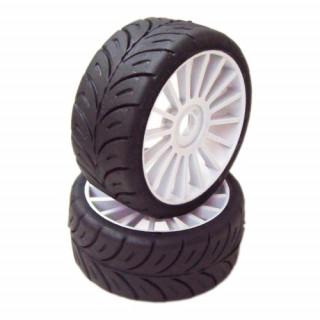 1/8 GT Sport gumy HARD nalepené gumy, bílé disky, 2ks.