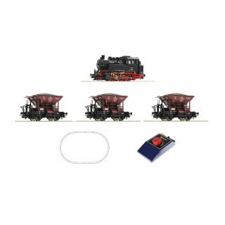 ROCO Analogová startovací sada: Parní lokomotiva třídy 80 s nákladními vozy, DB