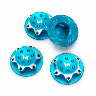 Hliníkové matice kola 17mm modré, 4 ks.