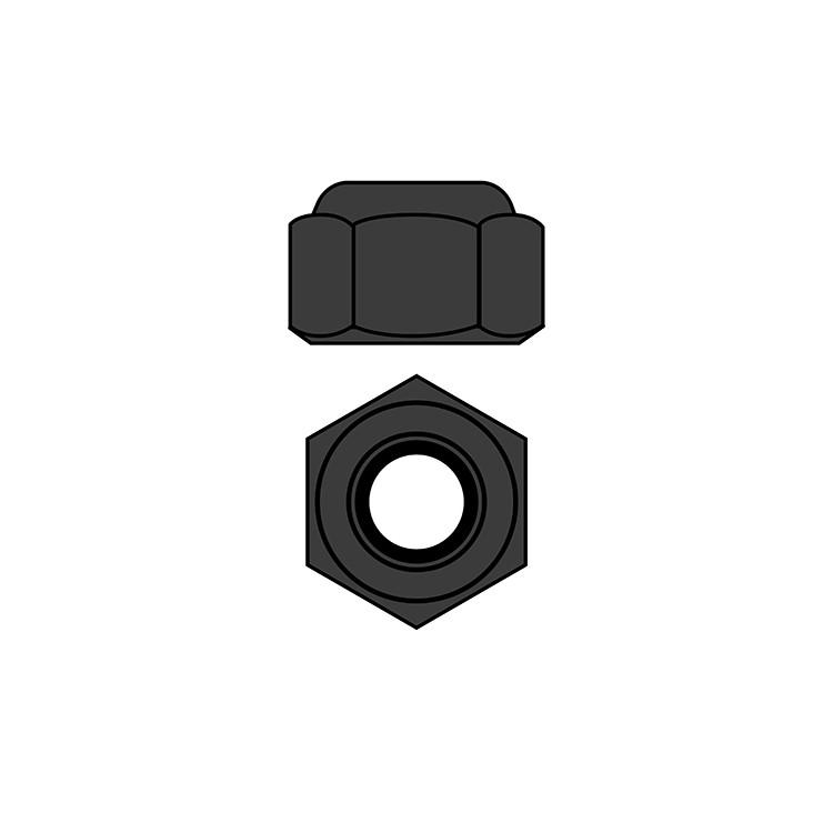 Ocelové Nylon STOPmatky M2,5 - černé - 10 ks.