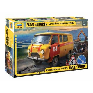 """Model Kit auto 43003 – Emergency gas service UAZ """"3909"""" (1:43)"""