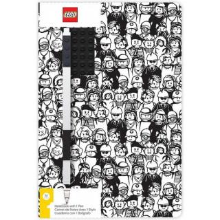 LEGO zápisník A5 s černým perem Minifigure Brick