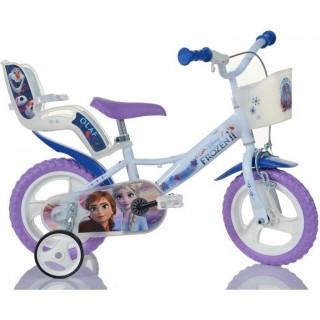 """DINO Bikes - Dětské kolo 12"""" Frozen 2 se sedačkou pro panenku a košíkem"""
