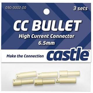 Castle zlacený konektor 6.5mm (3 páry)