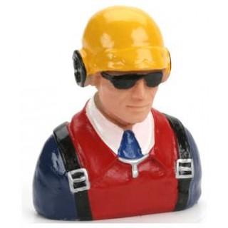 Pilot 1:7 - civilní s helmou sluchátky a sl. brýlemi