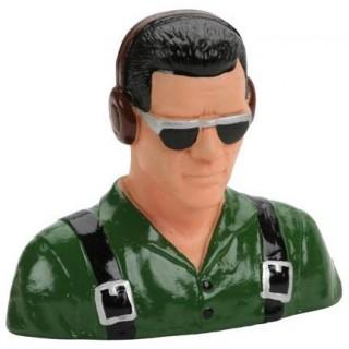 Pilot 1:5 - civilní se sluchátky a sl. brýlemi červený