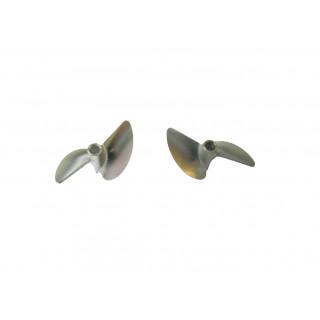 Závodní alu lodní šroub 2 listý, pravý a levý, 38,0mm/DOG DRIVE 3/16, 1 pár