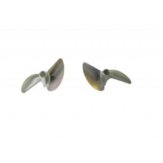 Závodní alu lodní šroub 2 listý, pravý a levý, 40,0mm/DOG DRIVE 3/16, 1 pár