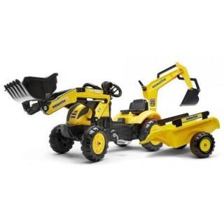 FALK - Šlapací traktor Komatsu s nakladačem, rypadlem a vlečkou