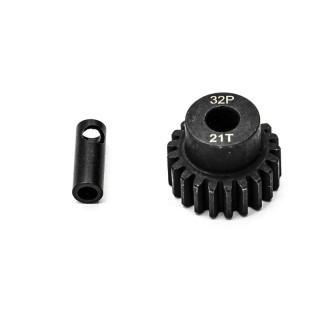 Ocelový motorový pastorek 21 zubů, modul 32DP s 5mm vrtáním a 3,17mm adaptérem