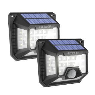 Blitzwolf Externí solární lampy LED BW-OLT3 se senzorem soumraku a pohybu, 1200 mAh (2 ks)